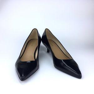 COACH Black Patent Leather Pointy Kitten Heels